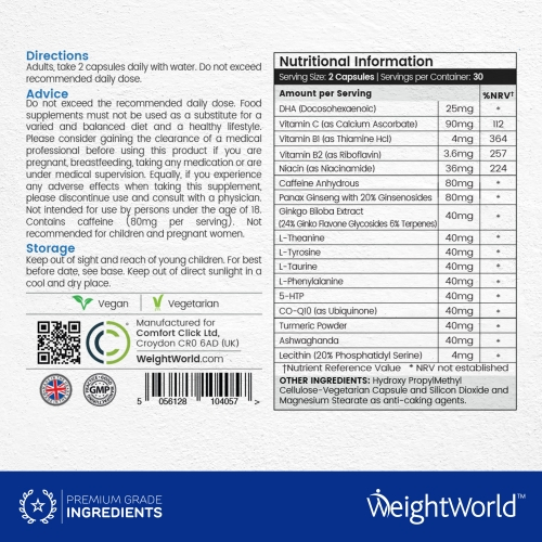 WeightWorld Brain Complex 85mg 60 Capsules for wholesale