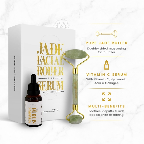Eco Masters Jade Facial Roller with Serum for Wholesale