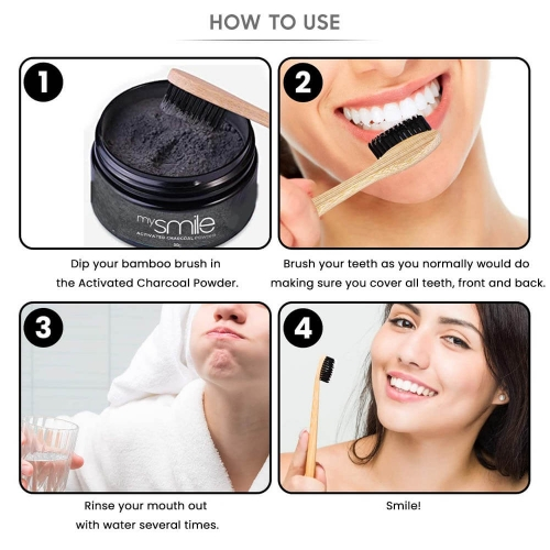 Eco Masters mysmile Activated Charcoal Powder with Bamboo Toothbrush