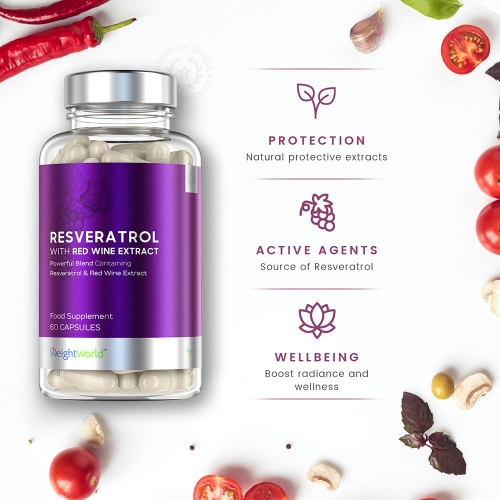 WeightWorld Resveratrol With Red Wine Extract 250mg 60 Capsules for wholesale